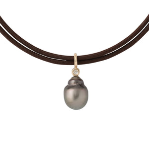 grey tahitian pearl pendant .12 carat diamond bezel set 14K yellow gold