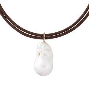 freshwater pearl pendant drop 14K yellow gold diamond bale