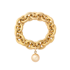 italian polished gold chunky link bracelet w/ 16mm golden pearl drop