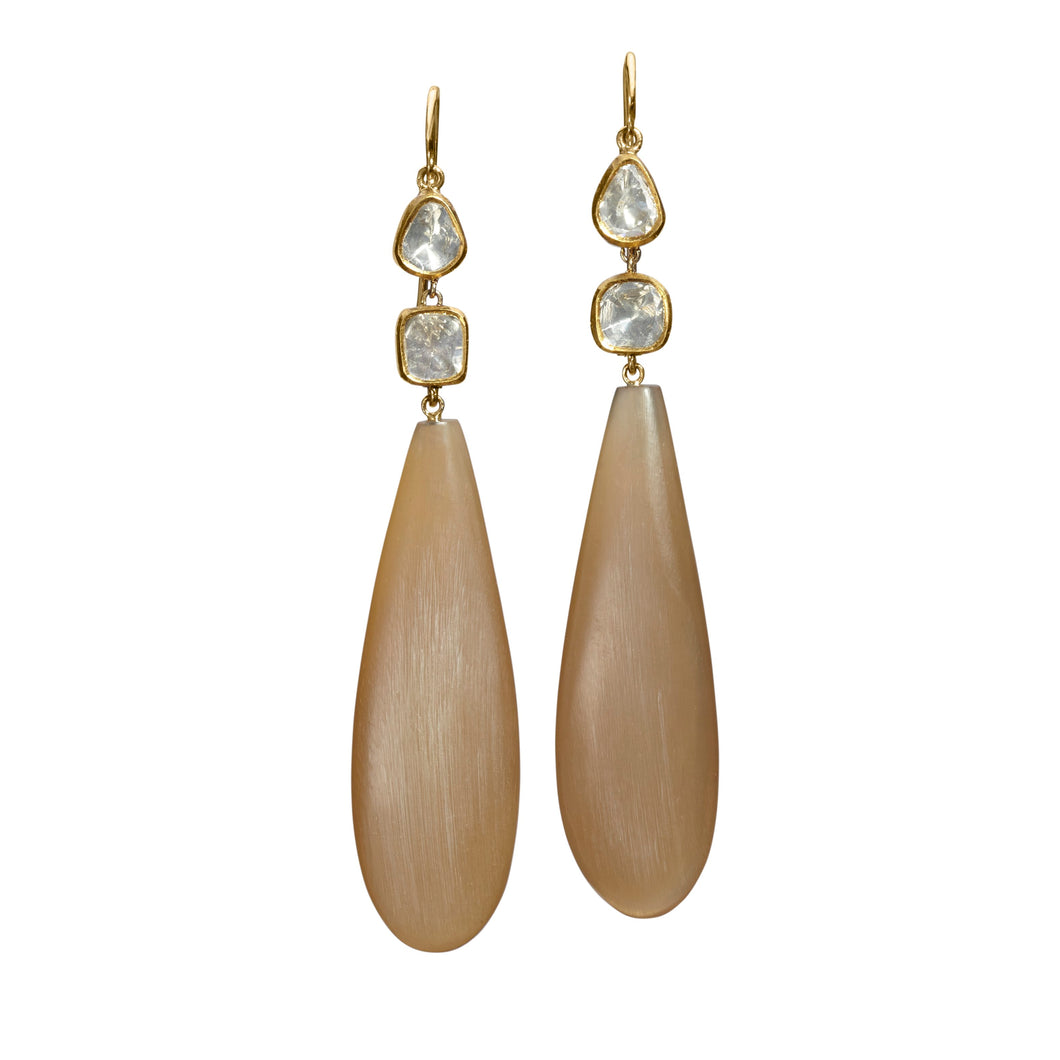 Caramel Horn Double Rose Cut Earring