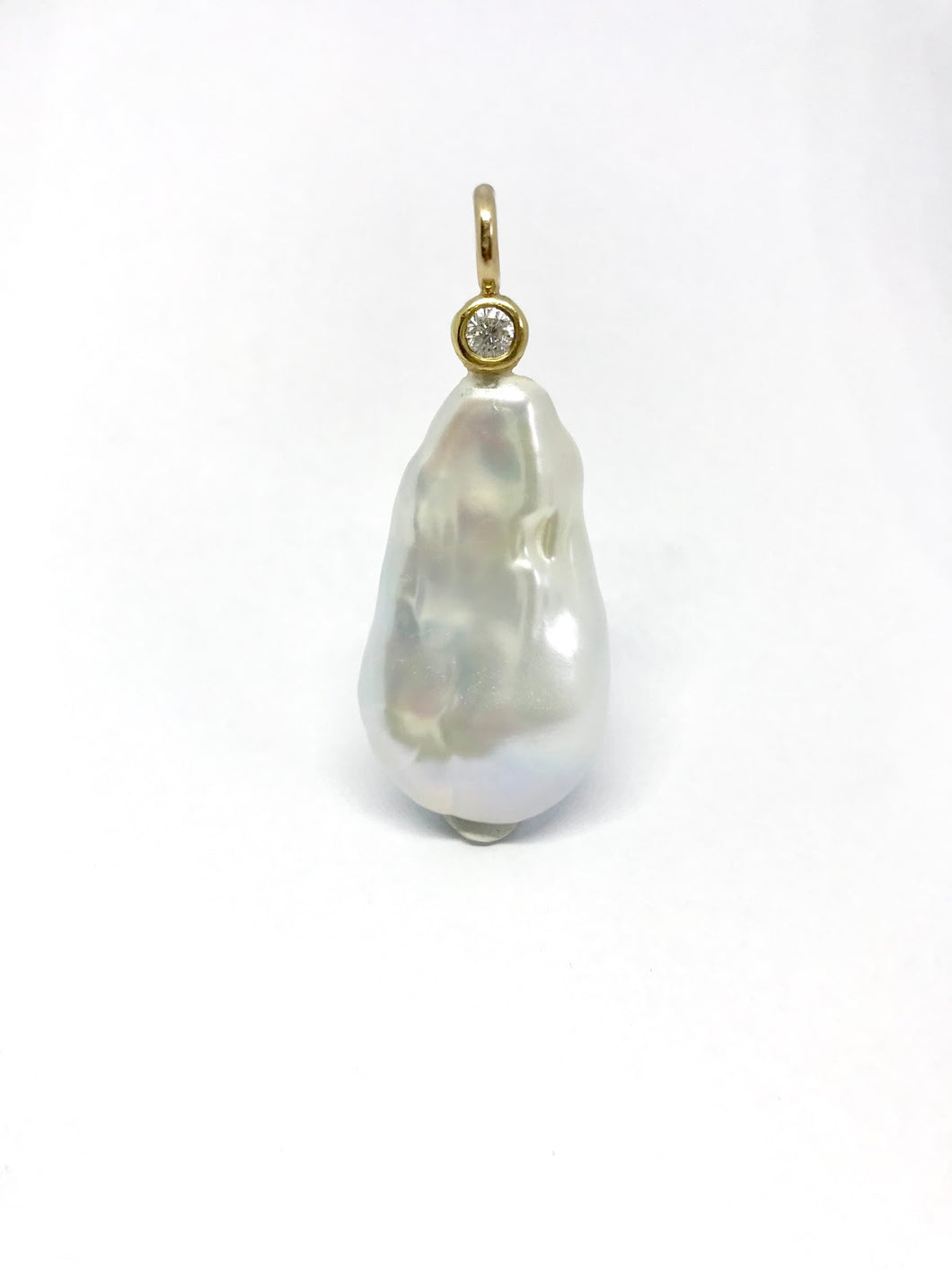 Freshwater Pearl Drop Diamond Pendent