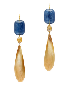 Blue Kyanite Horn Earring