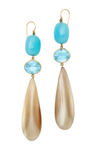 Long Blue Caramel Horn Earring