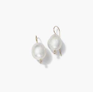 16.5mm White Pearl Diamond Drop Earring