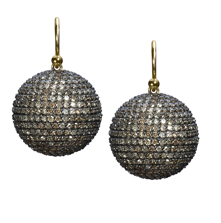 Large Pave Diamond Disco Ball Earring