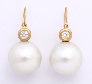 17-18mm White South Sea Pearl with Diamond Bezel Earring
