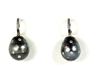 Diamond Gray Pearl Set with Diamond Earring