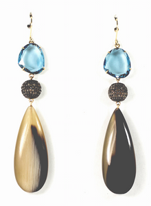 Blue Topaz and Brown Diamond Horn Earring