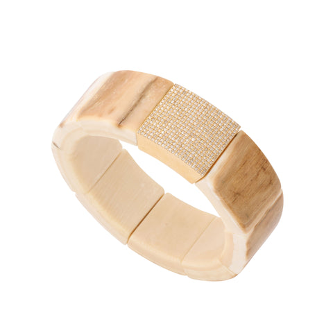 Polished Moose Shed Antler Tablet Stretch Bracelet