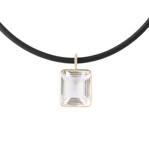 crystal pendant 14K gold surround set in gold pave diamond bale