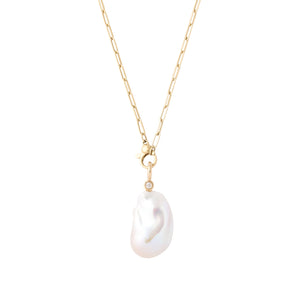 cultured freshwater baroque pearl .12 carat diamond bezel set