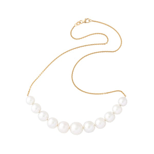 lustrous graduating crescent moon south sea pearl necklace