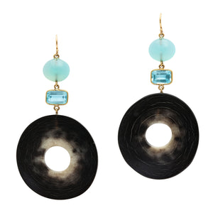 Polished Horn Disc Earring Topped with Aquamarine