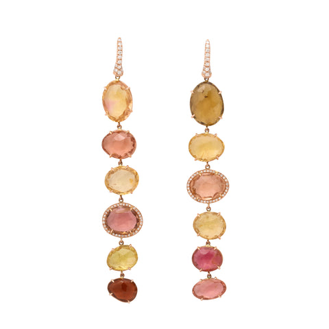 one of a kind 6 tier faceted palette of coral and peach tourmaline drop earring