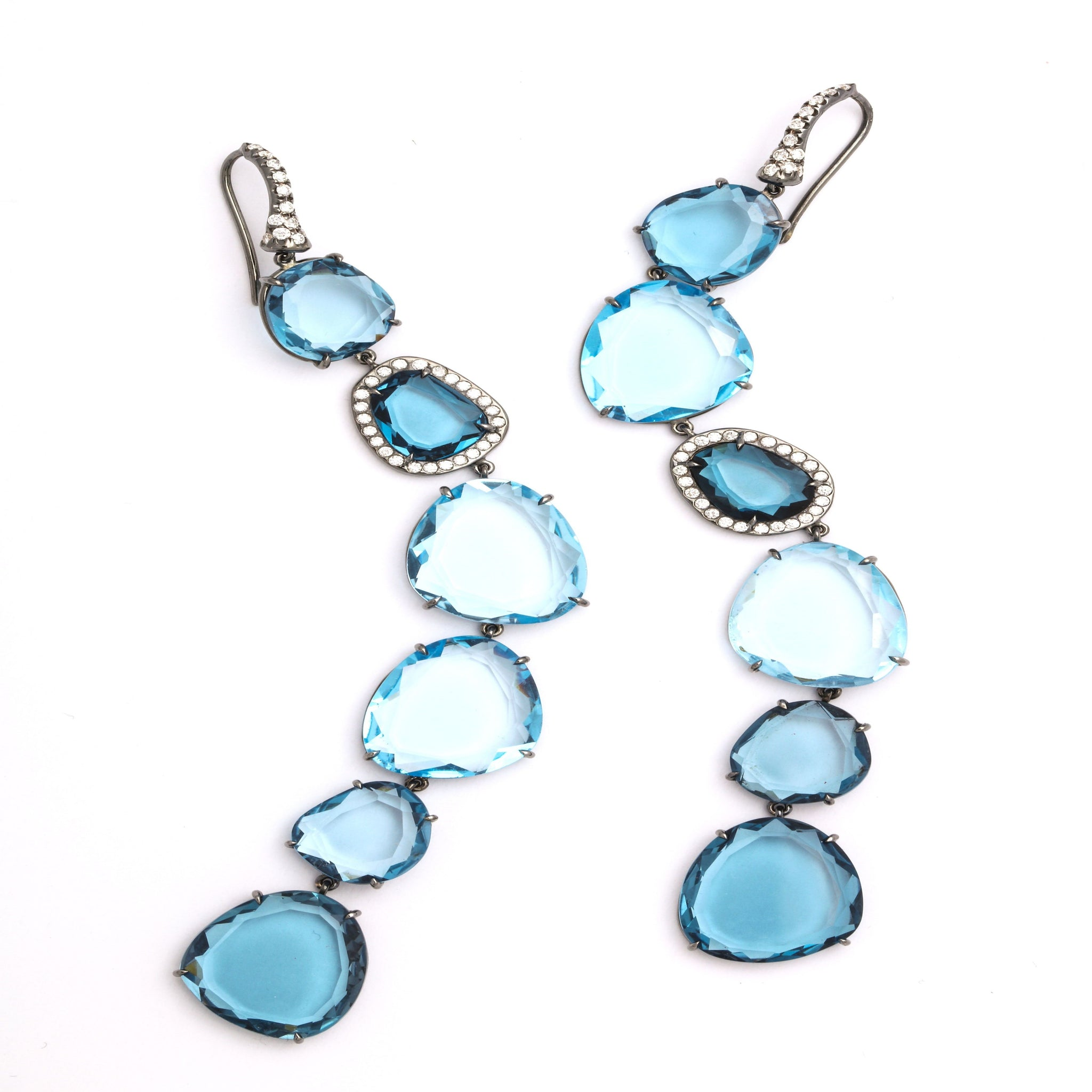 One of a Kind Shades of London Blue Topaz Shoulder Duster Earring