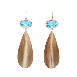 Polished Creamy Caramel Drop Topped with Blue Topaz