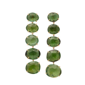 one of a kind 5 tier faceted green tourmaline drop earring