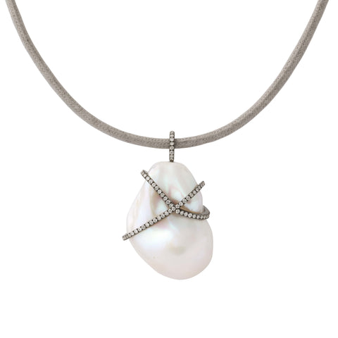 cultured freshwater baroque pearl pendant 14K rhodium polished gold diamond cage & bale