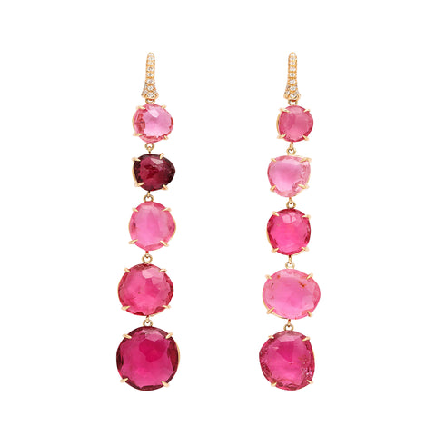 one of a kind 5 tier faceted pink tourmaline drop earring