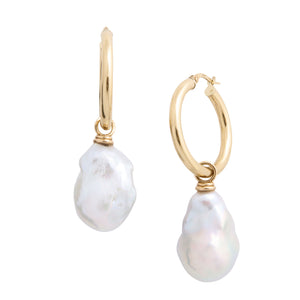 classic 14K gold hoop freshwater baroque pearl drop