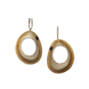 polished horn disc earring
