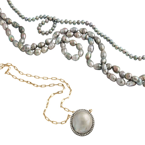 "52"" grey keshi pearl necklace"