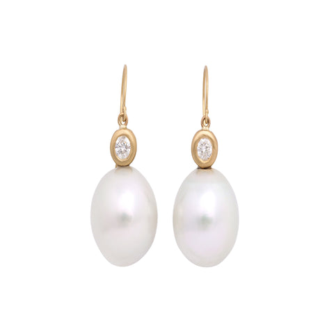 white south sea pearl .12 diamond bezel set