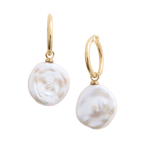 cultured white petal pearl earring