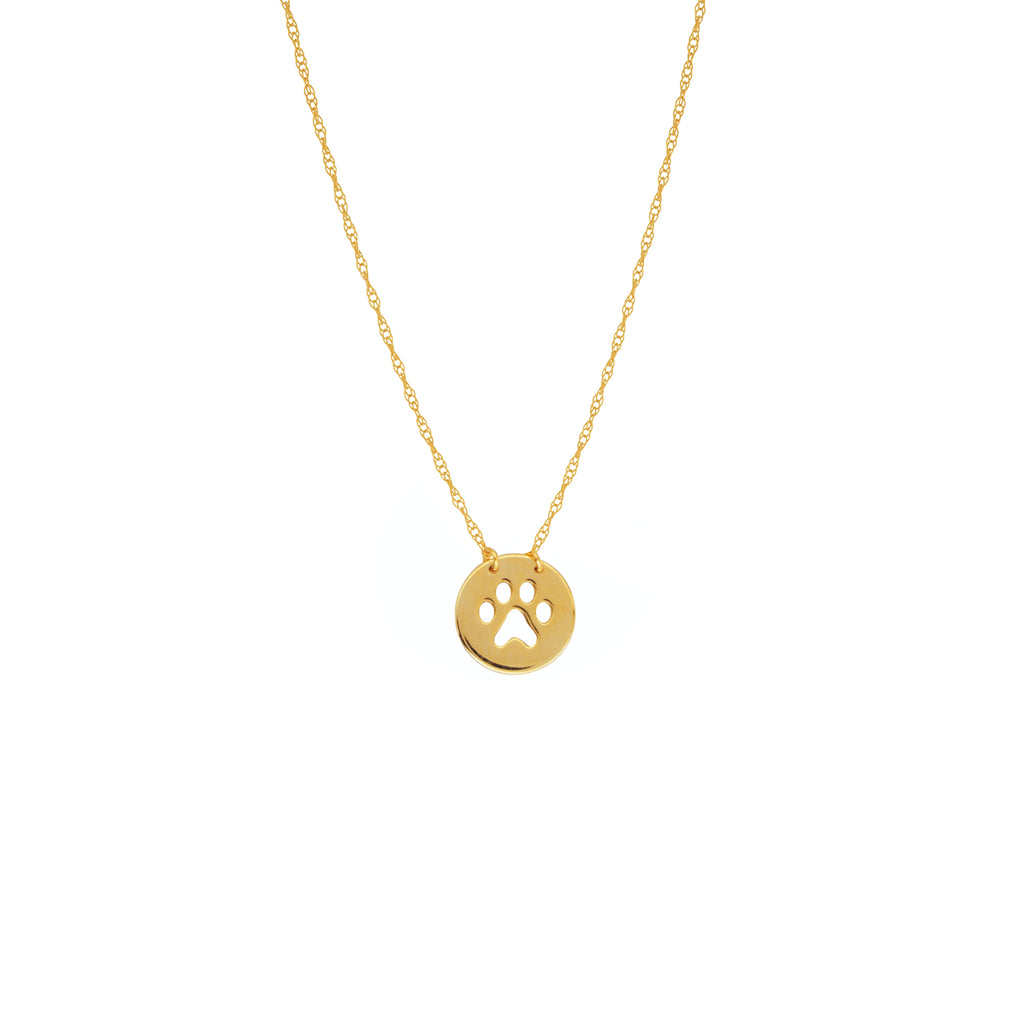 Paw Cut Out Disc Necklace-Necklace-Milano DG