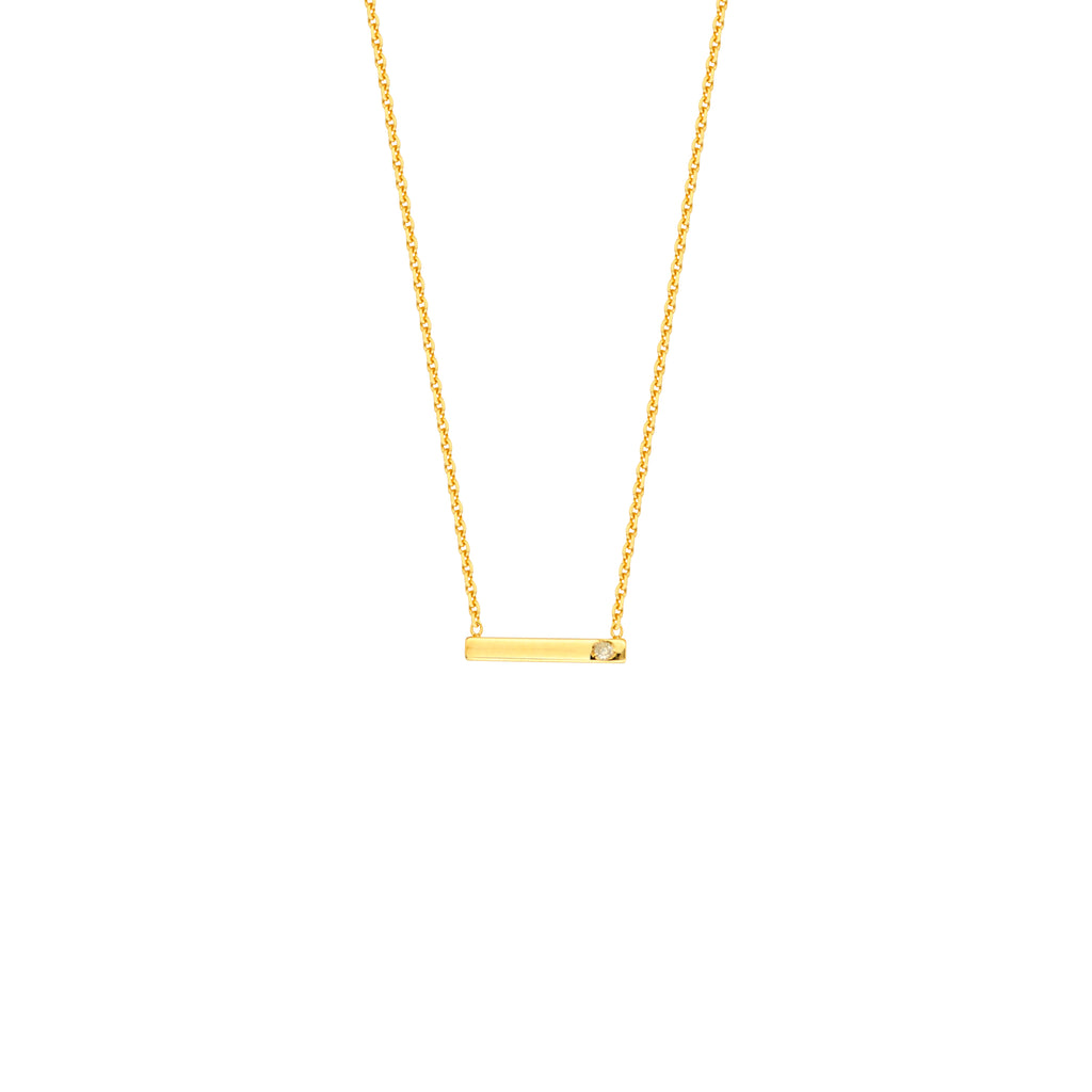 Diamond Mini Bar Necklace-Necklace-Milano DG