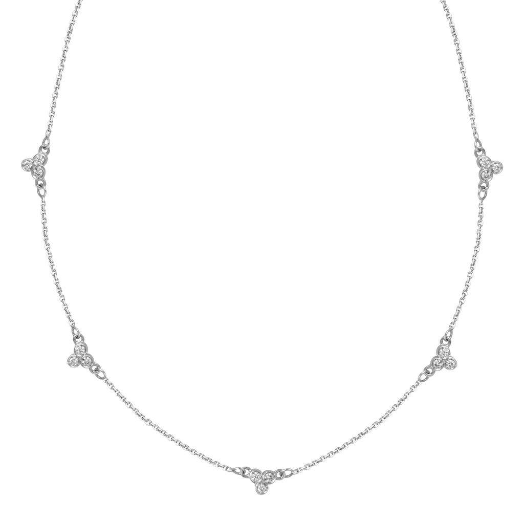 Diamond Cluster Station Necklace-Necklace-Milano DG