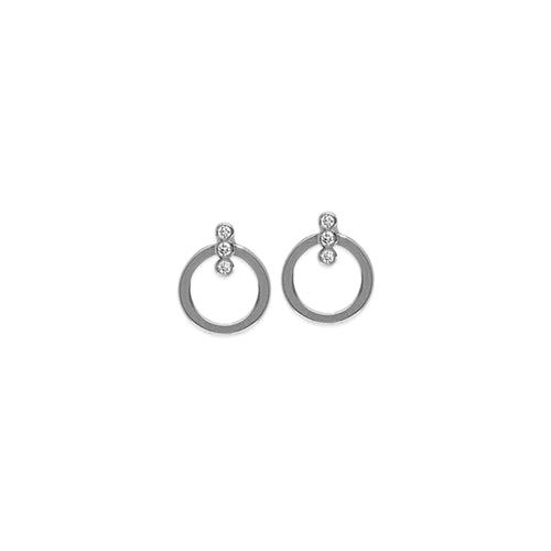 Trinity Diamond Open Circle Earring-Earring-Milano DG