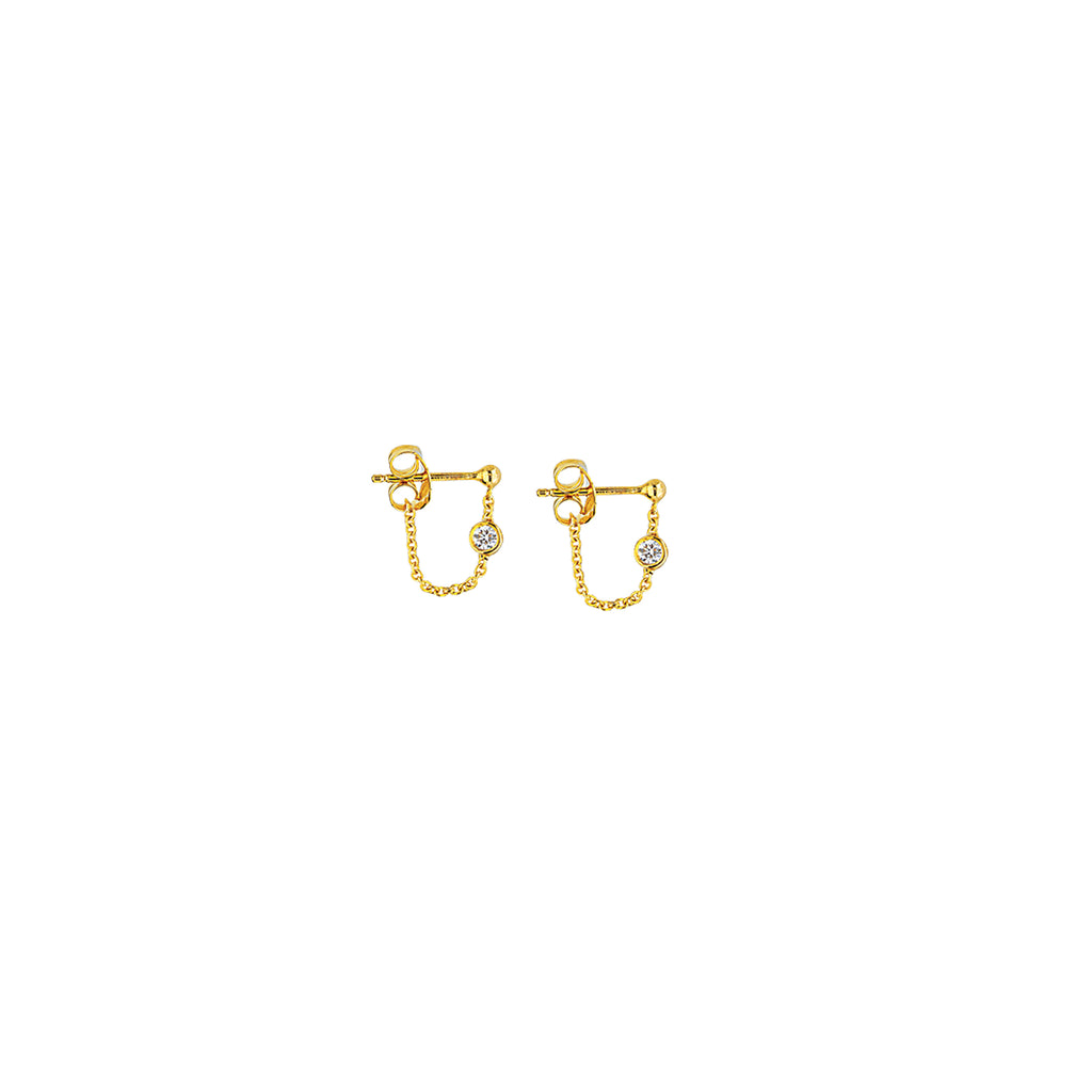 Bezel Diamond Studs with Chain-Earring-Milano DG