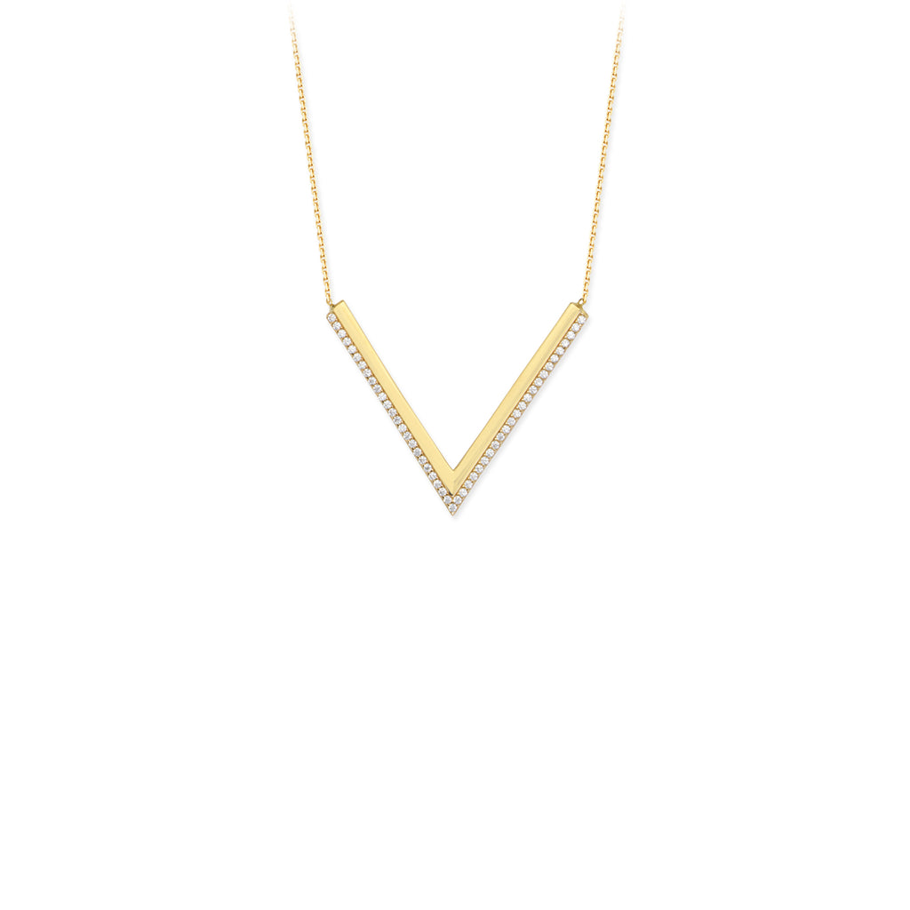 V Necklace with CZ-Necklace-Milano DG