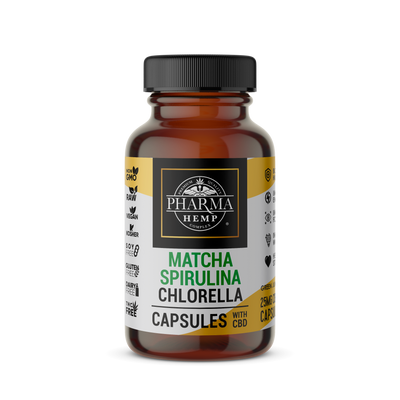 Matcha, Spirulina and Chlorella CBD Capsules - By Pharma - Nirvana Naturals CBD