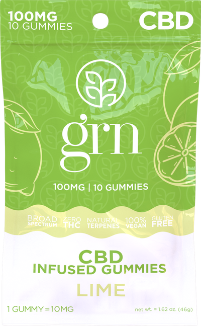 CBD Gummies Lime Infused 100mg - By GRN - Nirvana Naturals CBD