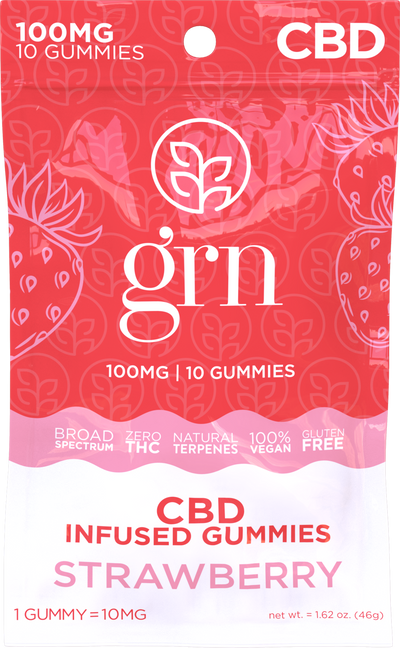 CBD Gummies Strawberry 100mg - By GRN - Nirvana Naturals CBD