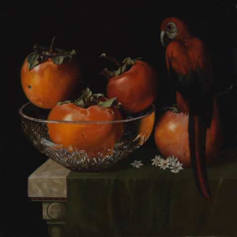 Persimmons and parrot - The Arts Inn Fine Art Gallery