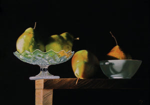 Pears on a ledge with glass and porcelain bowls - The Arts Inn Fine Art Gallery