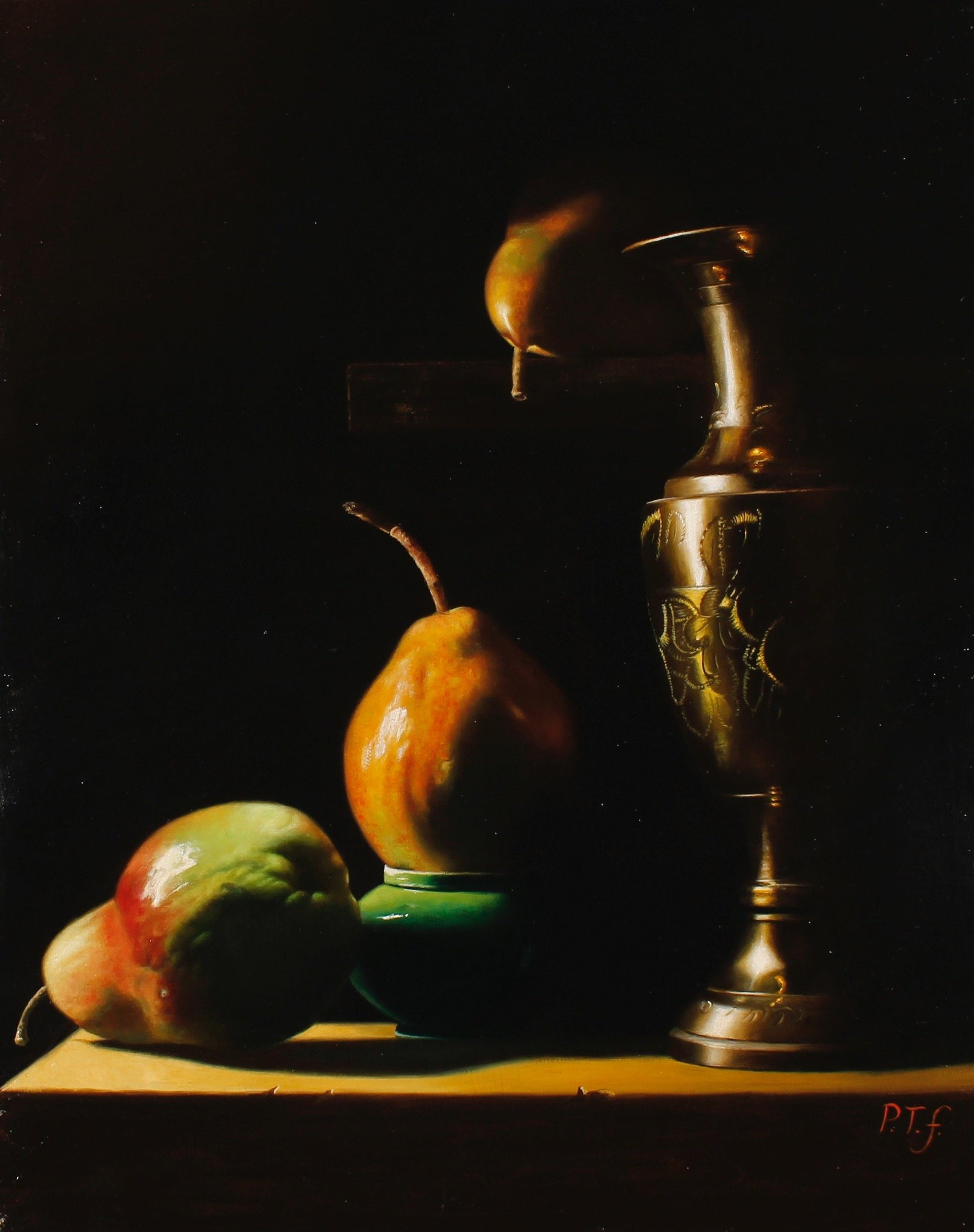 Pear, brass vase and porcelain cup - The Arts Inn Fine Art Gallery