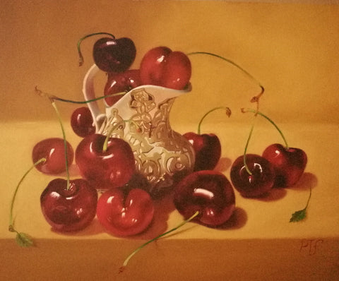 Cherries with porcelain vase