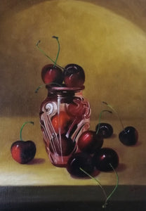 Cherries with glass vase - The Arts Inn Fine Art Gallery