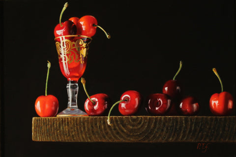 Cherries on a ledge with red glass - The Arts Inn Fine Art Gallery
