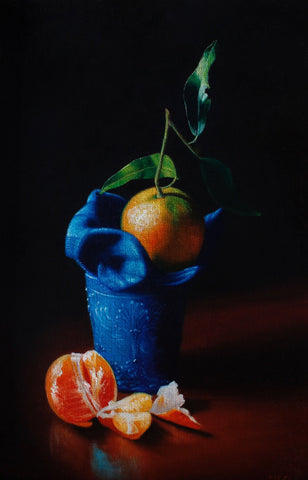 Clementine and blue glass