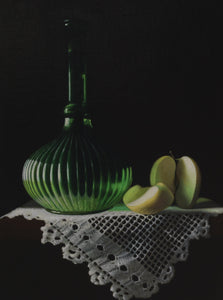 Green glass bottle with lace and apple - The Arts Inn Fine Art Gallery