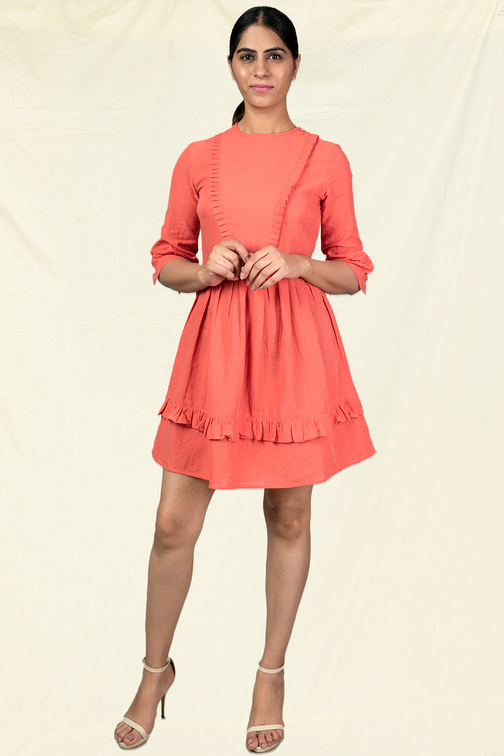 Organic Cotton Womens Skater Dress in Coral