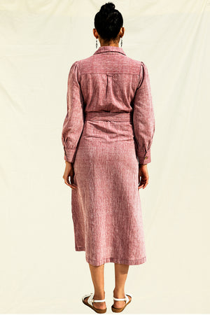 Organic Cotton Midi Shirt Dress in Wine