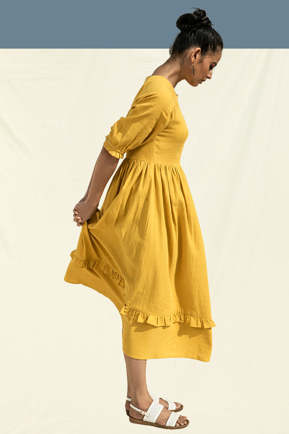 Khadi Cotton A-Line Dress in Yellow by Lake Peace, a PETA Approved Vegan Fashion Brand in India