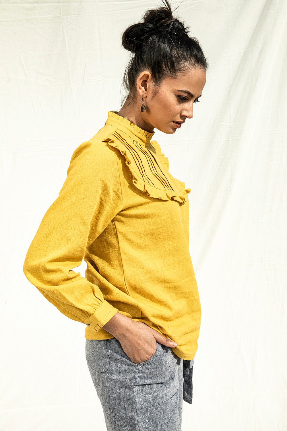 Organic Cotton Clothing for Women by Lake Peace. Yellow Full Sleeve Top with Frill Detail at Yoke.