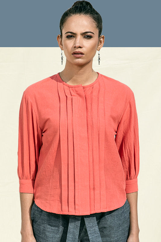 Shop Organic Cotton Tops for Women by Vegan Fashion Brand Lake Peace. Pleated Round Neck Blouse in Coral by Sustainable Fashion Brand in India.